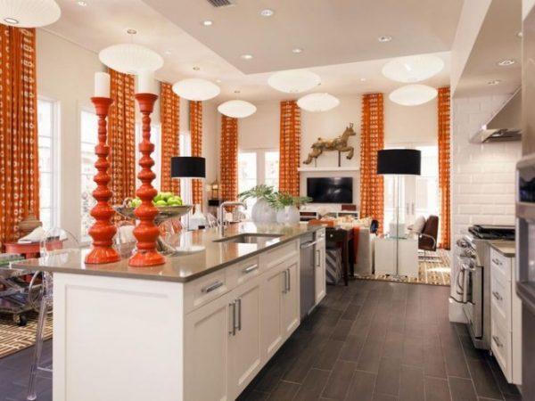 оранжевые яркие шторы