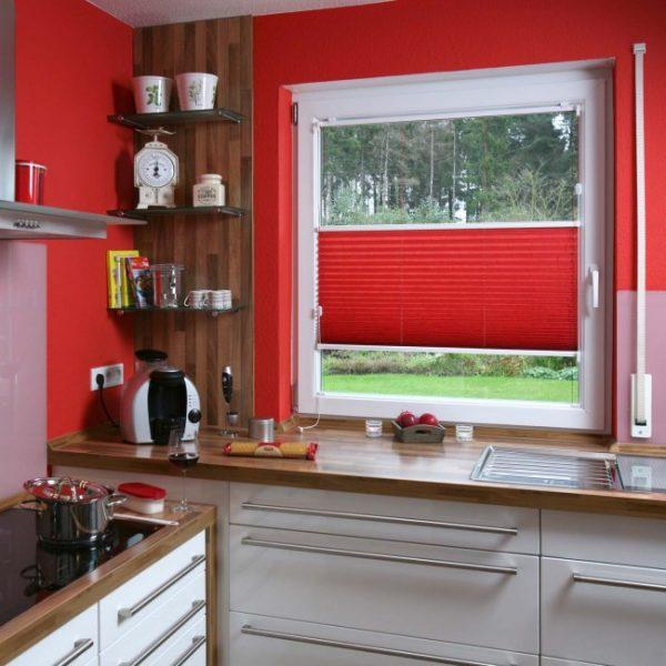 кухонные красные шторы жалюзи