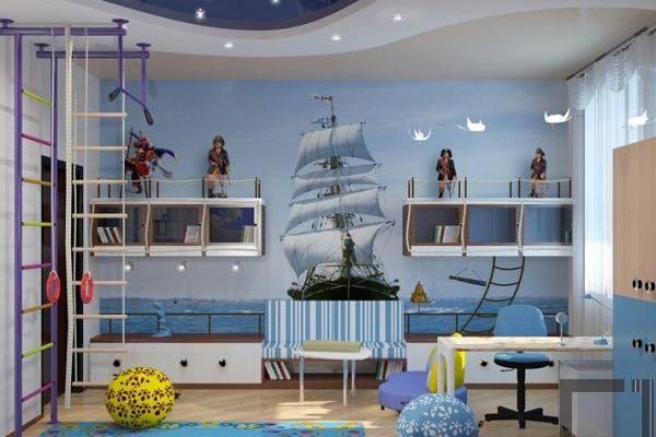 натяжные потолки для детской в морском стиле