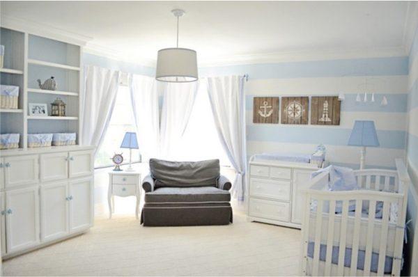 нежно голубой для новорождённого мальчика в морском стиле