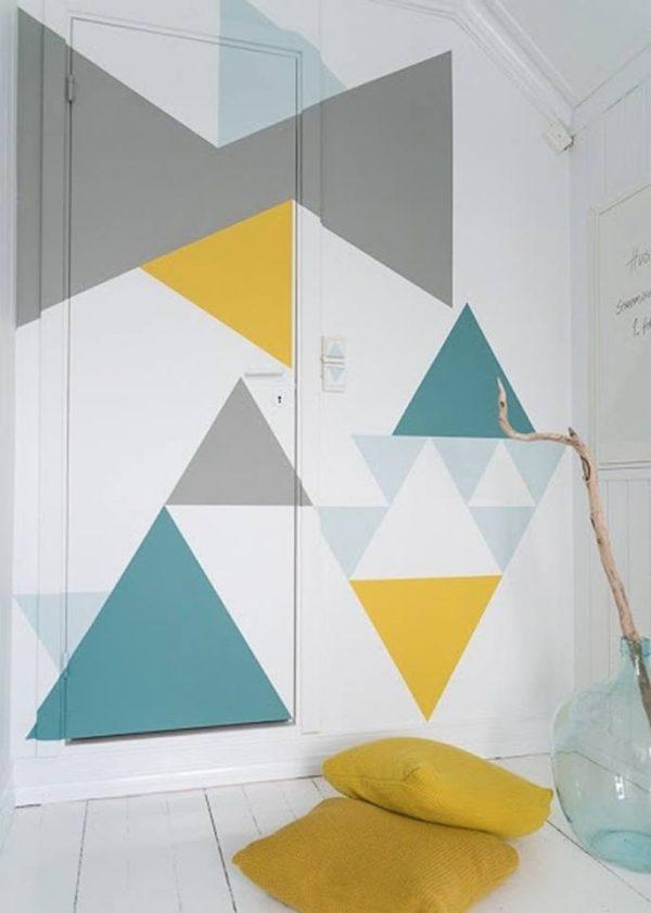 узоры геометрические на кухне из обоев