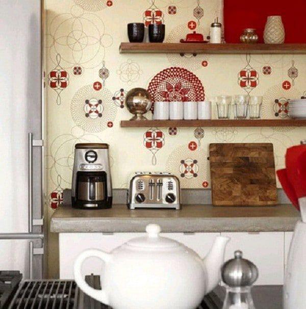 моющиеся обои в интерьере кухни вместо фартука