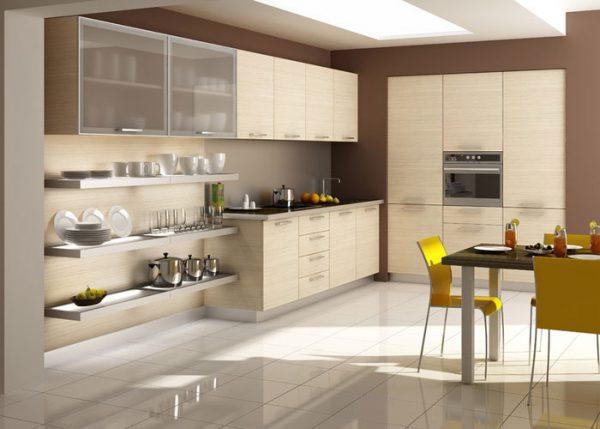 обои модерн в интерьере кухни