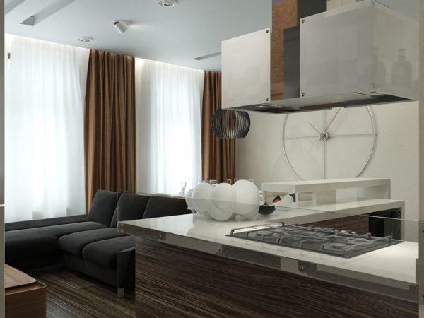 плотные и тонкие шторы на кухне модерн