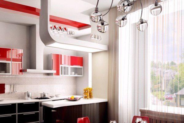 шторы на кухне хай тек