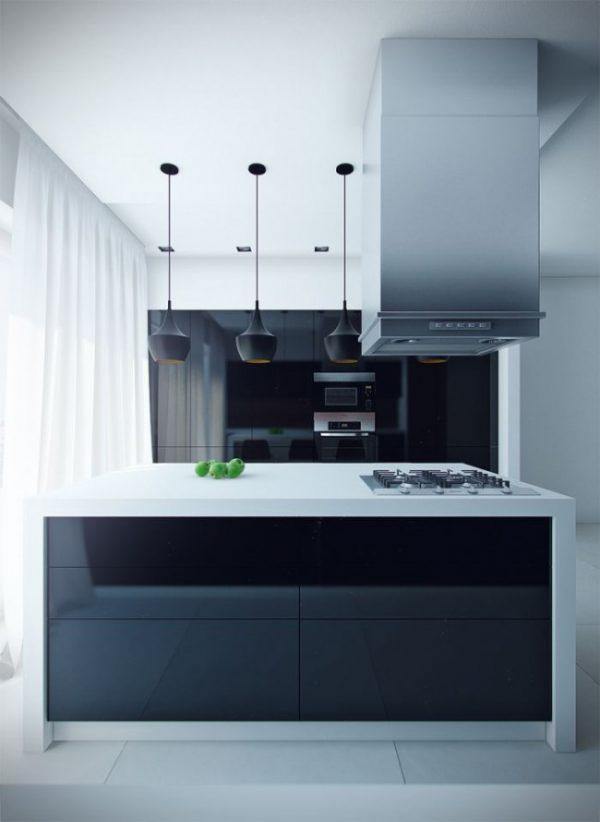 шторы в интерьере тёмной кухни