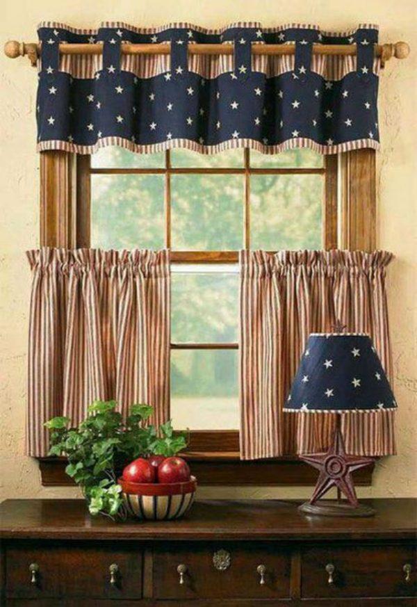 шторы в деревенском стиле на кухне