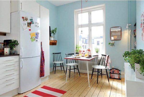 скандинавская синяя кухня