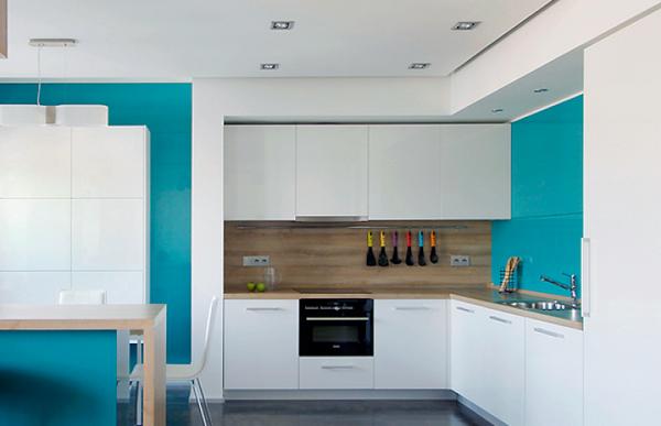 стиль минимализм на синей кухне