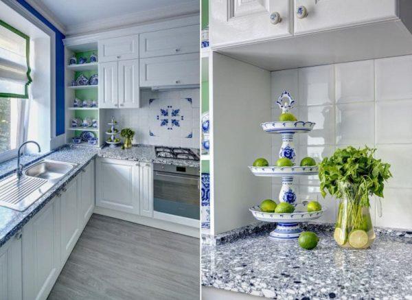 стиль гжель на синей кухне