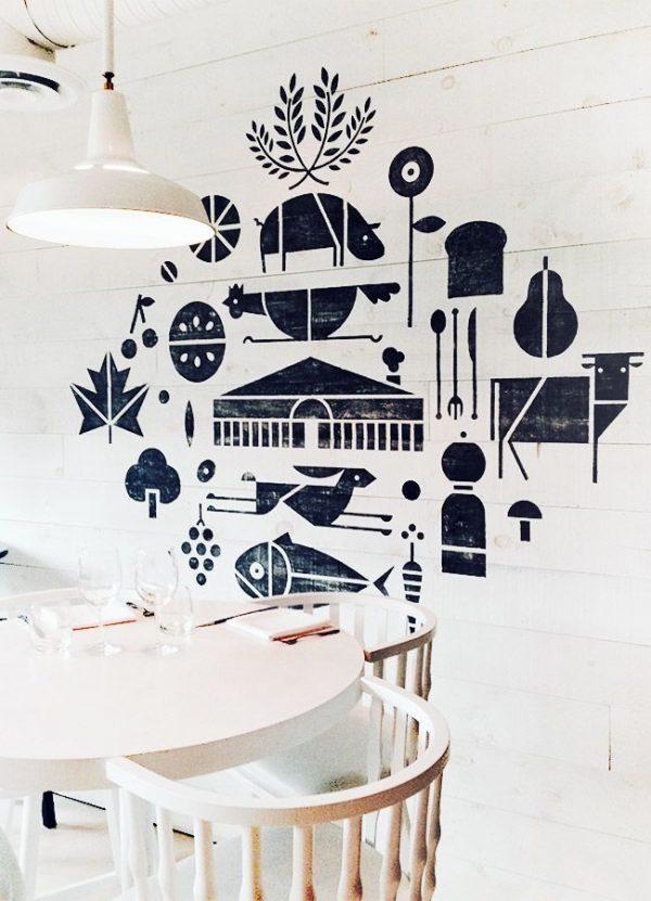 синий рисунок накат на стенах кухни