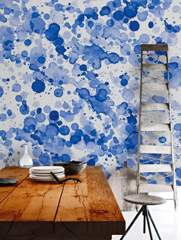 синий цвет ан стенах кухни