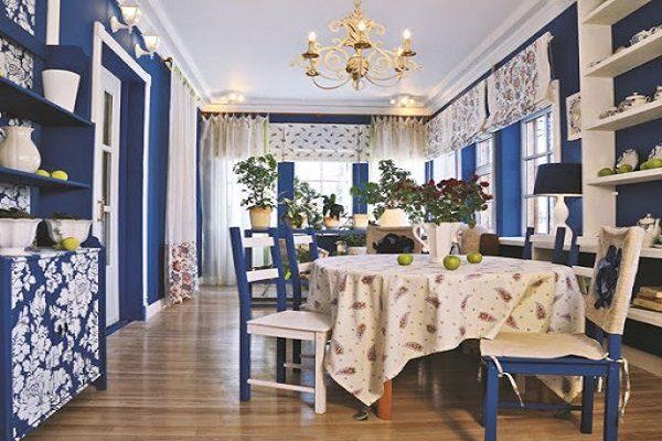 гжель на синей кухне