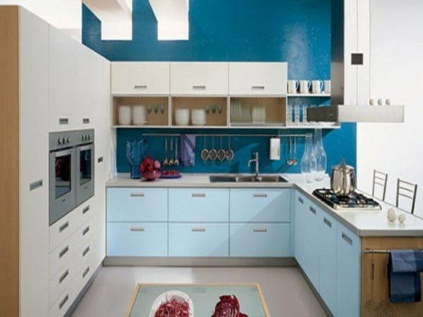 голубая модная кухня
