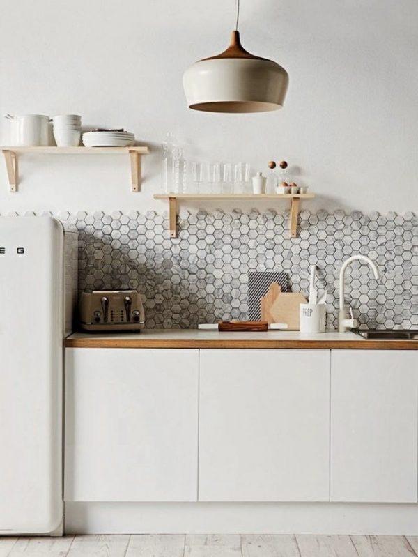 белый на кухне скандинавской
