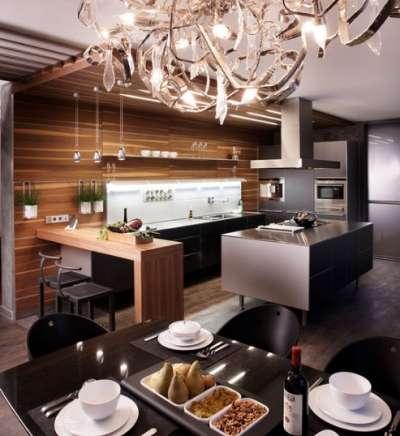 роскошный дизайн кухни студии