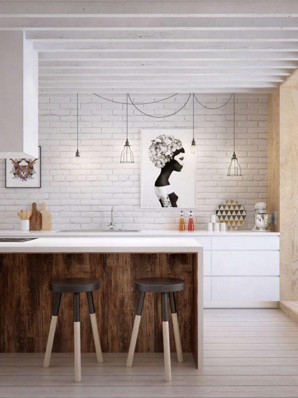 белая кухня с кирпичной кладкой