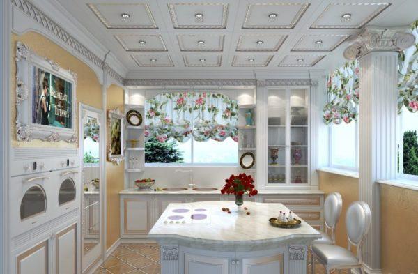 Античный стиль на белой кухне