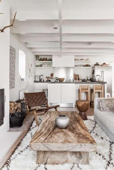 деревянный стол на белой кухне