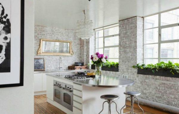 кухня белая в стиле лофт