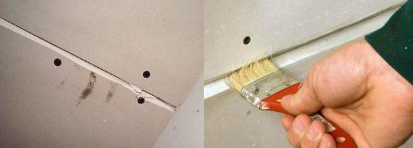 обработка грунтовкой стыков и труб в ванной