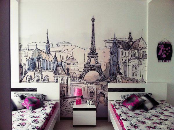 обои с изображением Парижа в детской