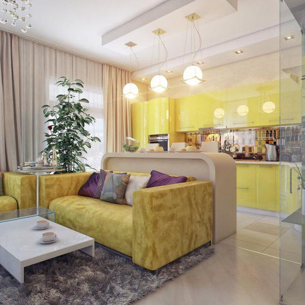 диван и барная стойка для зонирования кухни гостиной
