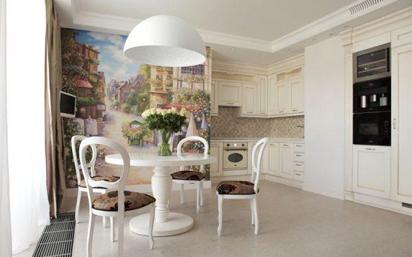 стильная кухня классика с круглым столом
