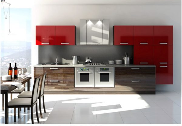 линейная кухня в стиле модерн с вытяжкой