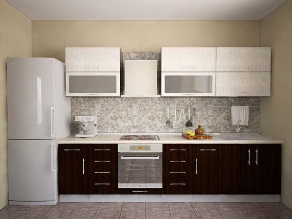 прямолинейная кухня с холодильником