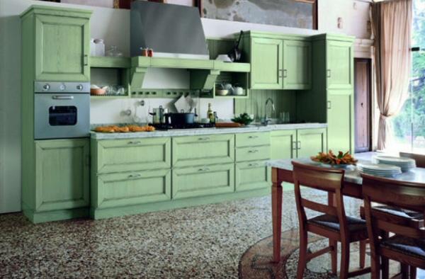 зелёная прямолинейная кухня