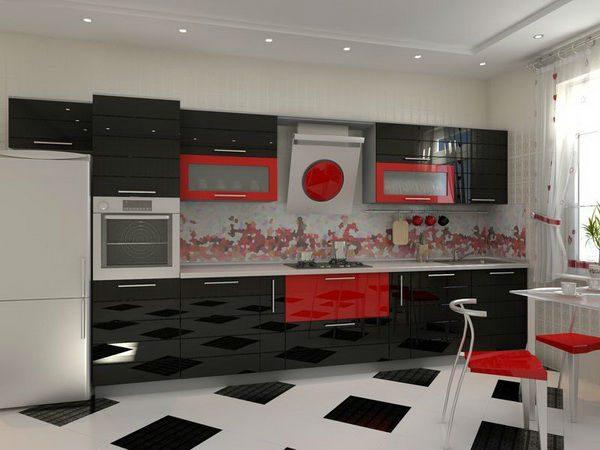 чёрный и красный на кухне