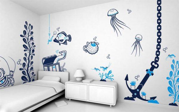 рисунки с трафаретов на стенах детской