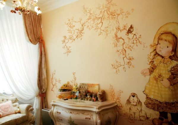 сказочный пейзаж на стене детской