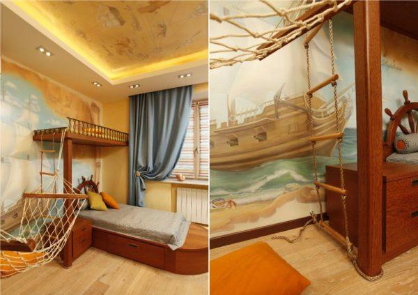рисунок в комнате в морском стиле