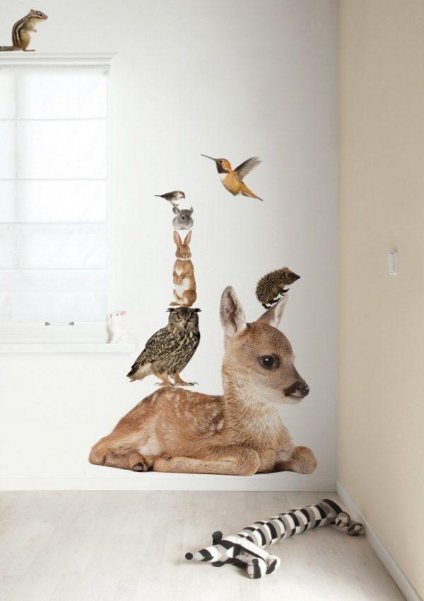лесные звери на стенах рисунок