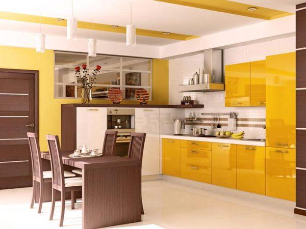 жёлтая глянцевая угловая кухня