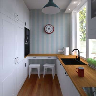 полосатые обои на небольшой кухне