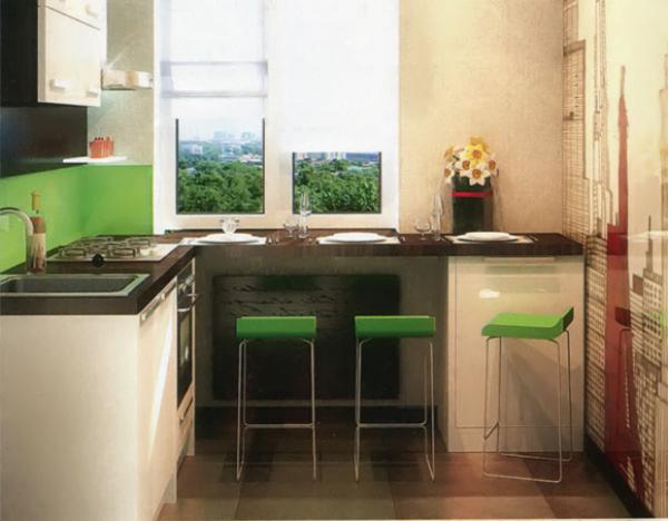 столешница на подоконнике кухни