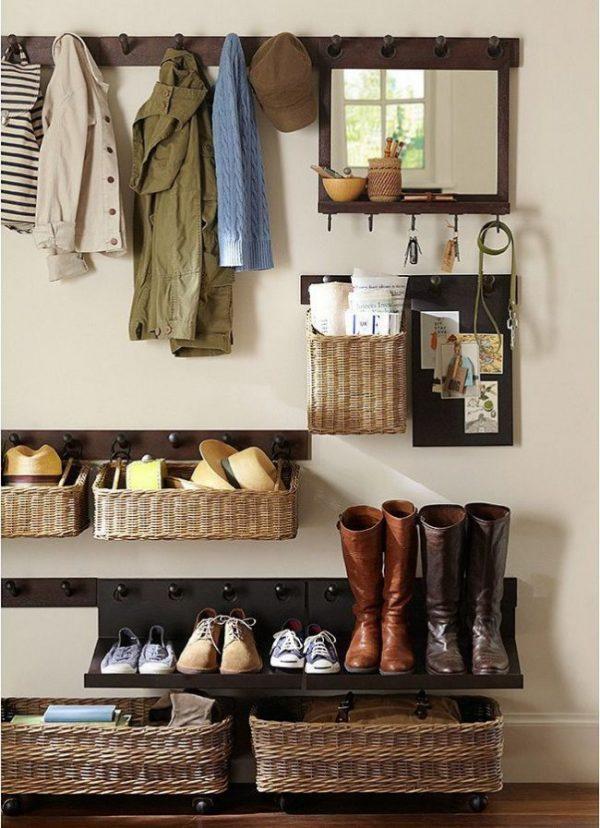 плетённые ящики для обувной полки