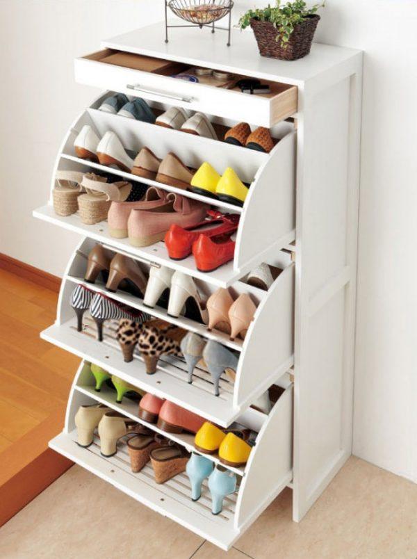 полка для обуви с откидными ящиками