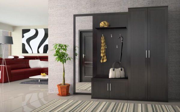 шкаф чёрный в коридоре