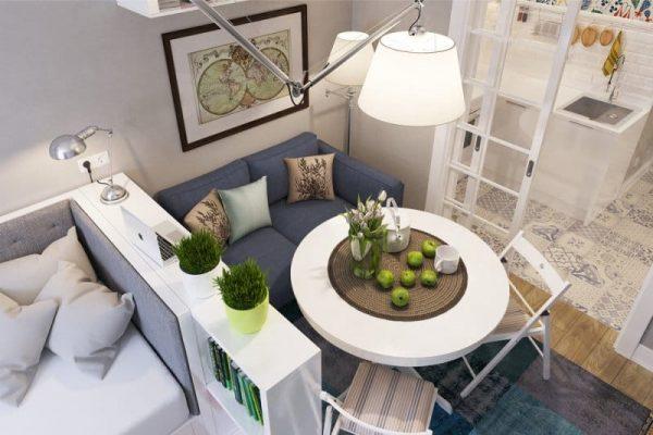выкатной диван у стола