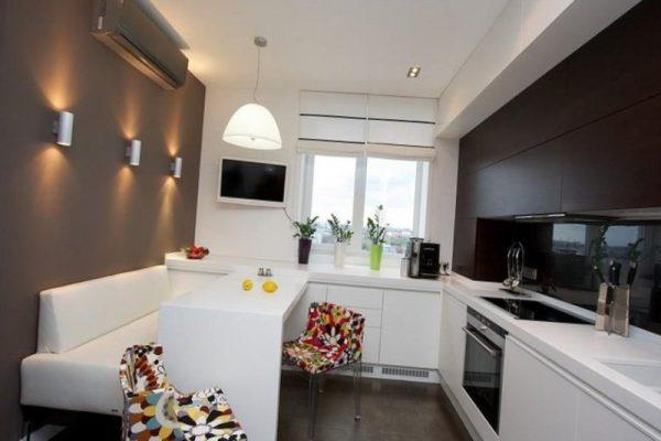 интерьер кухни минимализм с диваном