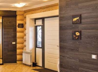 ламинат на стенах деревянного дома