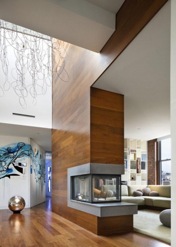 ламинат на стенах перегородки в гостиной