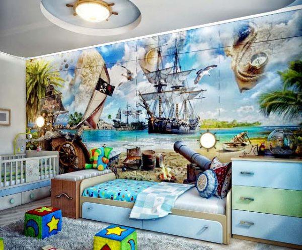 фотообои с кораблями в детской для мальчика
