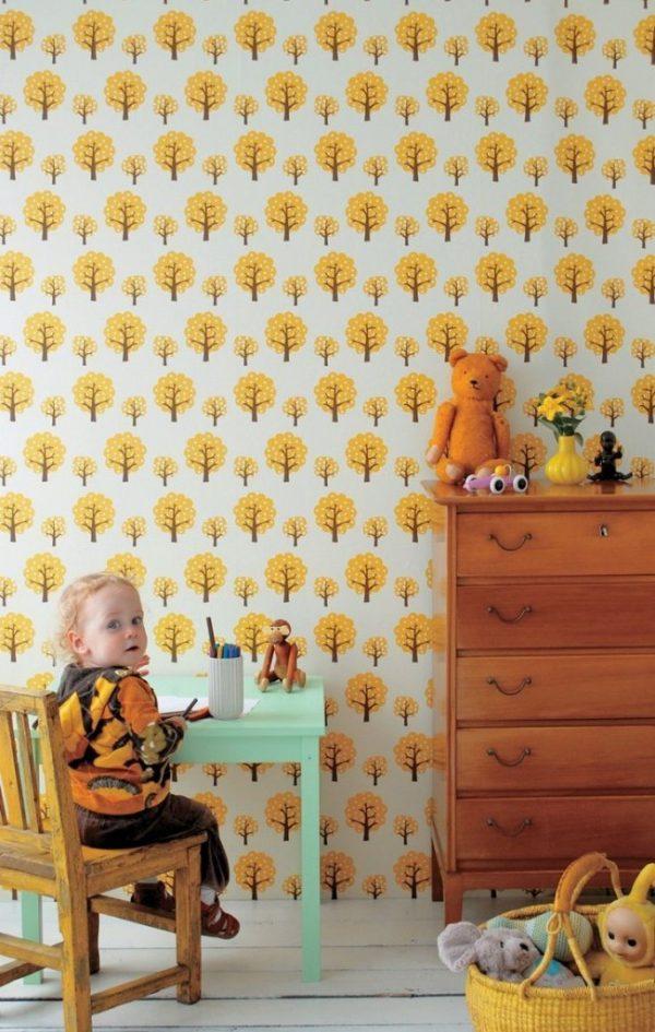 бумажные обои в детской малыша